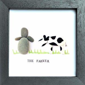 Handmade Pebble Art Frame of a Farmer and Cow