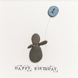 Birthday Present Pebble Art Frame