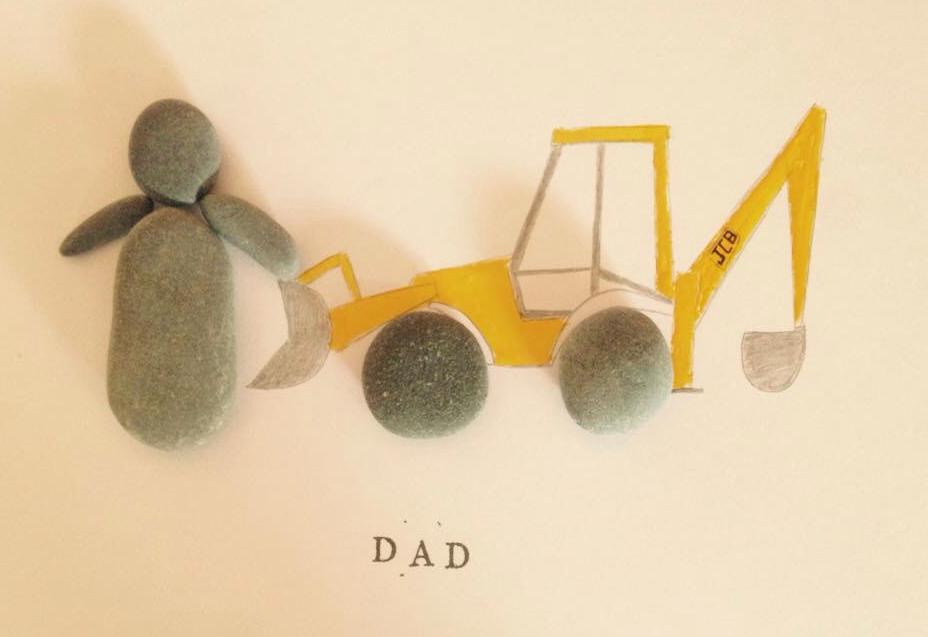 Dad JCB Pebble Art