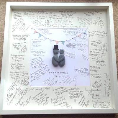 Signed Pebble Art Wedding Frame