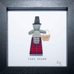 Pebble Art figure in Evans Tartan