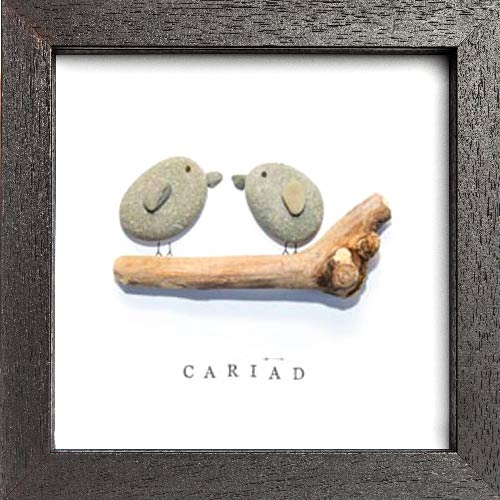 Lovebirds Pebble Art Frame