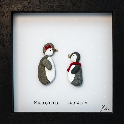 Penguin Pebble Art Frame Handmade Bodoli